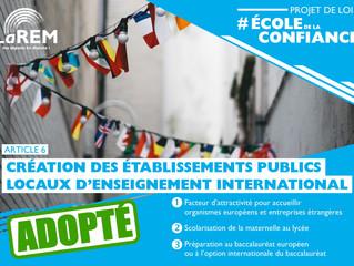 ECOLE DE LA CONFIANCE - Création des Etablissements Publics Locaux d'Enseignement International