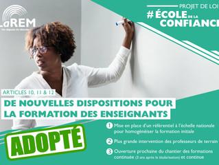 ECOLE DE LA CONFIANCE - De nouvelles dispositions pour la formation des enseignants