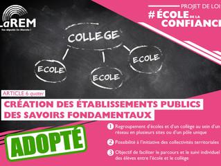 ECOLE DE LA CONFIANCE - Création des Etablissements Publics Locaux d'Enseignement des Savoirs Fo