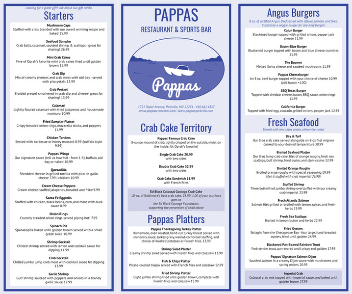 Pappas Menu (aquatic version)