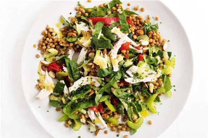 Chicken on warm lentil salad