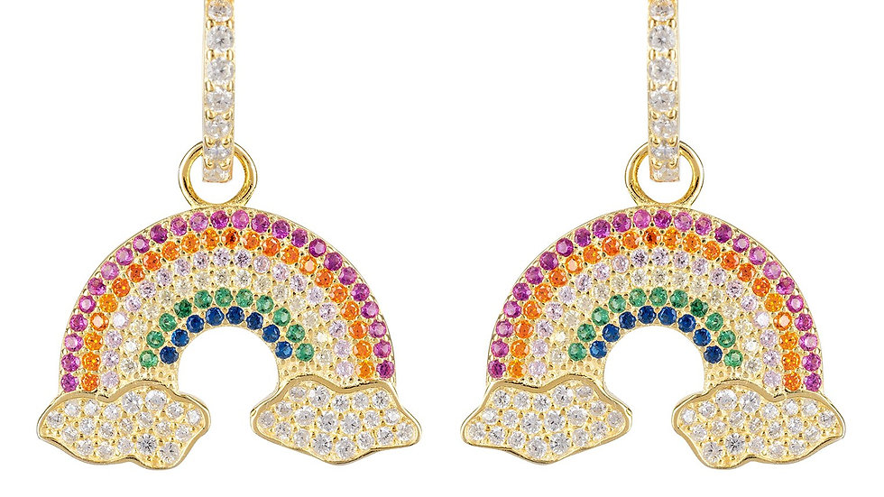 Rainbow Colorful Drop Earrings Gold