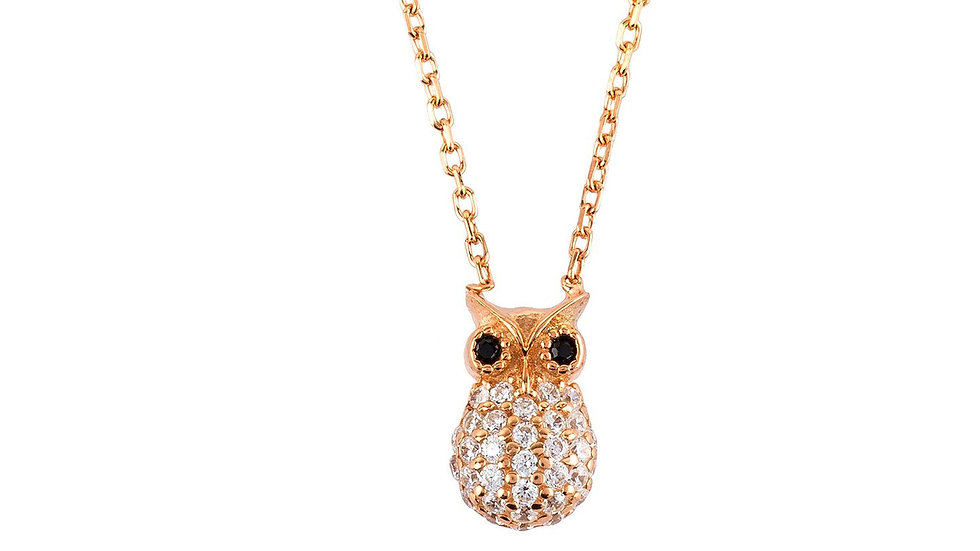 Wise Owl Small Pendant Necklace Rose Gold