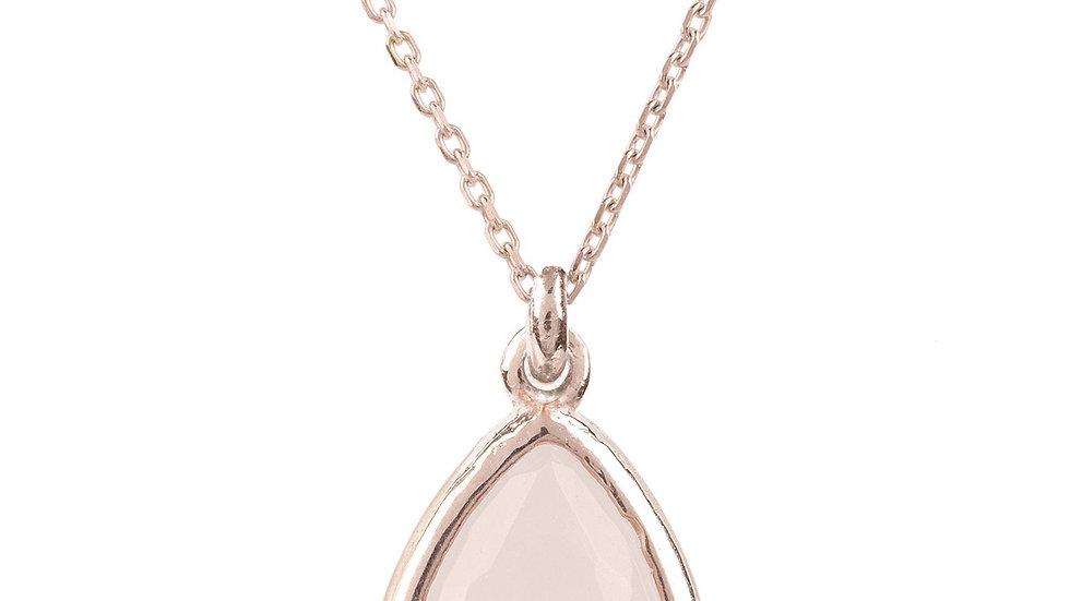 Pisa Mini Teardrop Necklace Rosegold Rose Quartz