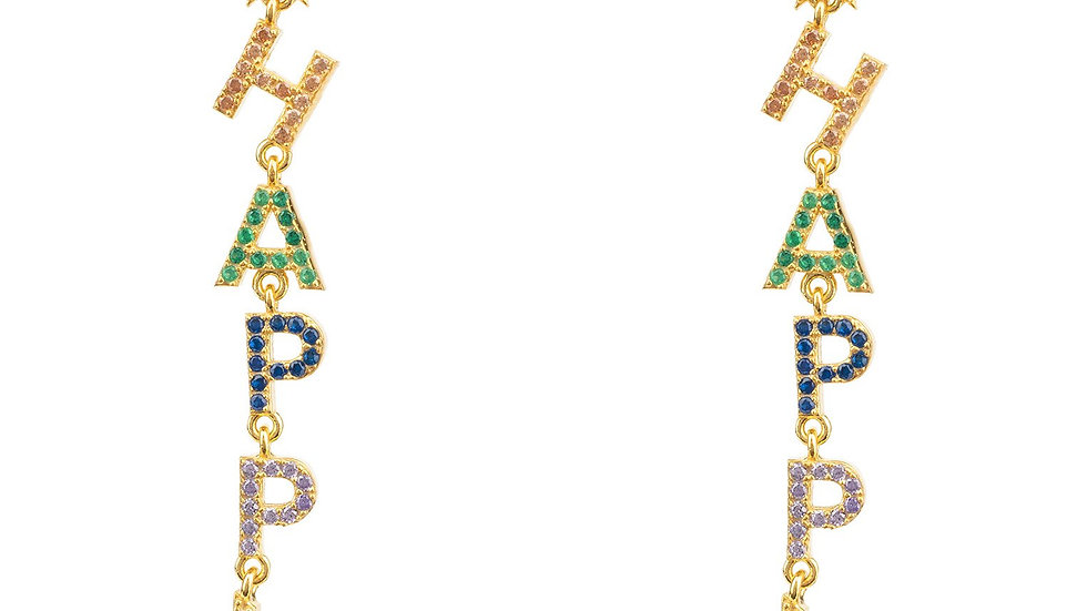 Happy Rainbow Drops Earrings Gold
