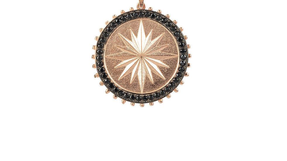 Reversible Moral Compass Star Burst Pendant Necklace Rosegold