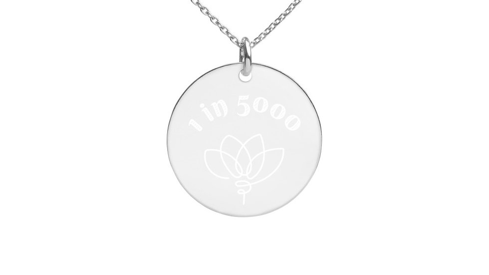 1 in 5000 & Lotus Engraved Disc Necklace