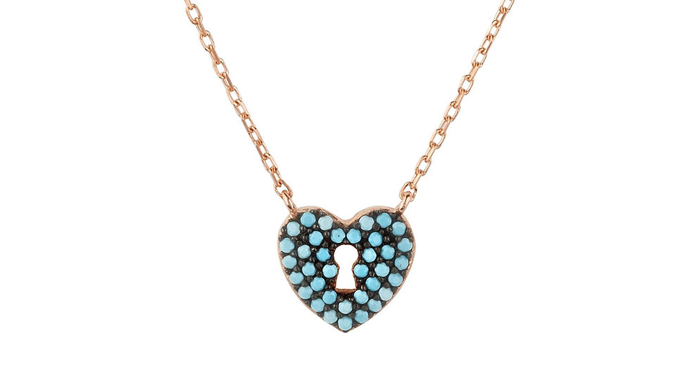 Key to My Lock Heart Necklace Turquoise Rosegold