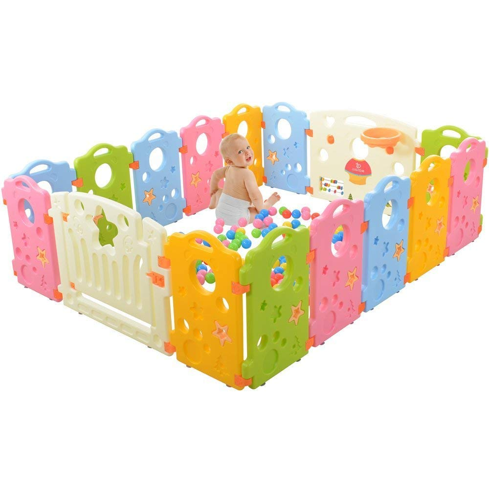 Activity Area Play Yard with Multicolor Indoor Safety Gates 8x16ft
