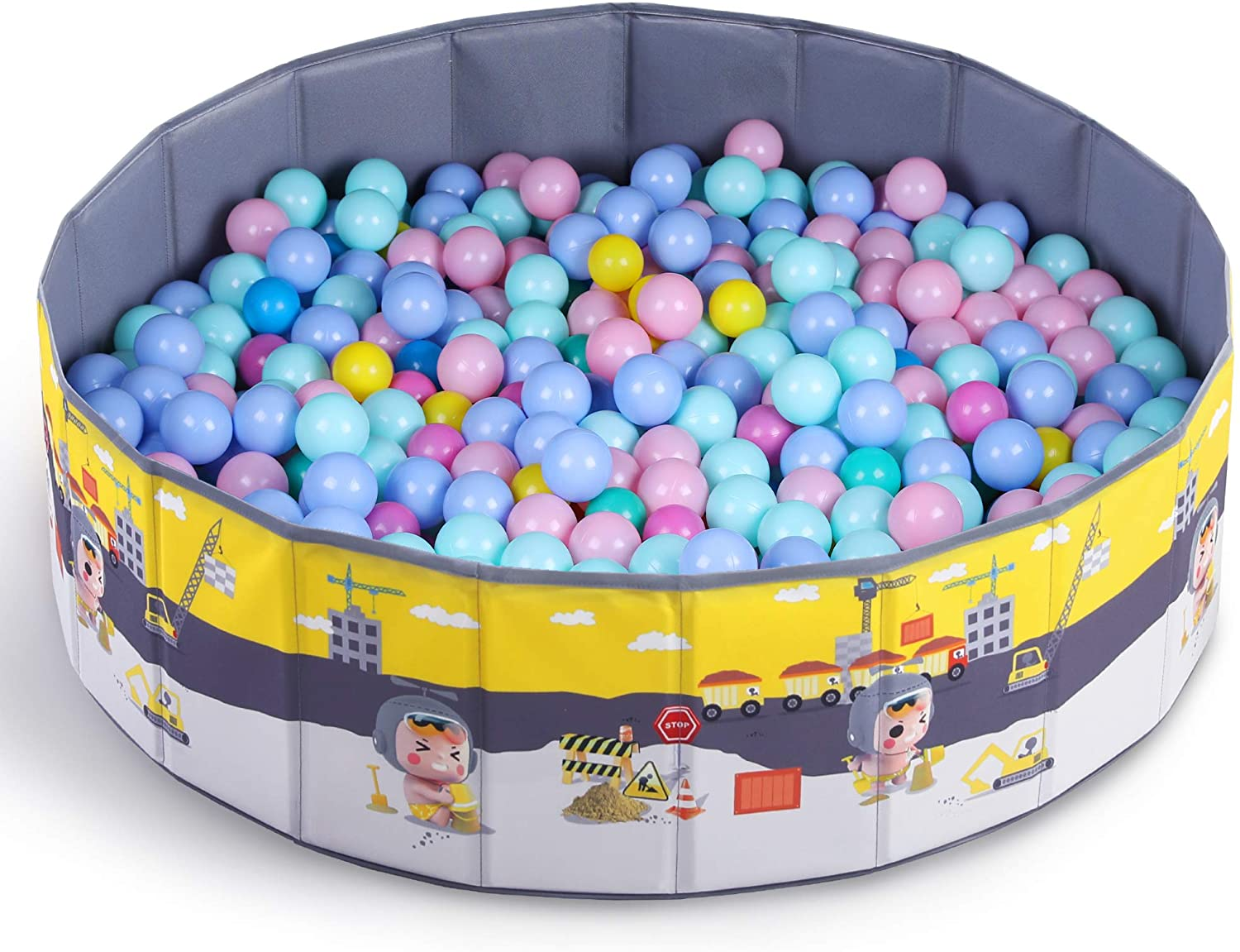 Pool with 500 ball pit 47 inches in diameter and 18 inches in height.