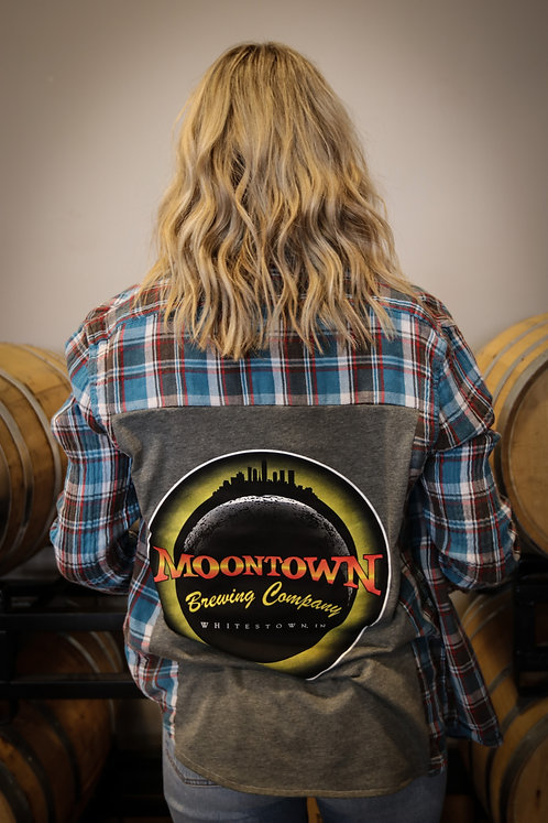 Grey Moontown Logo Flannel