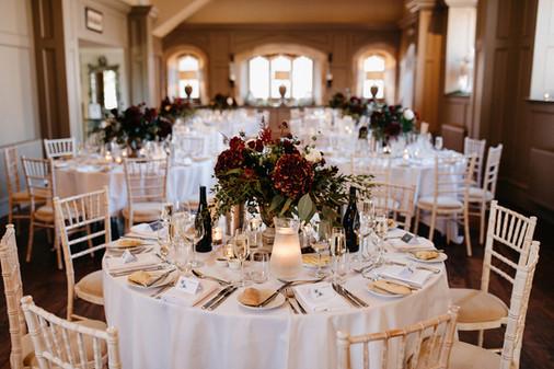 Burgundy Table Flowers Ellingham Hall