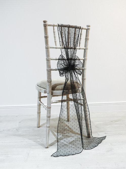 Black Polka Organza Chair Bow