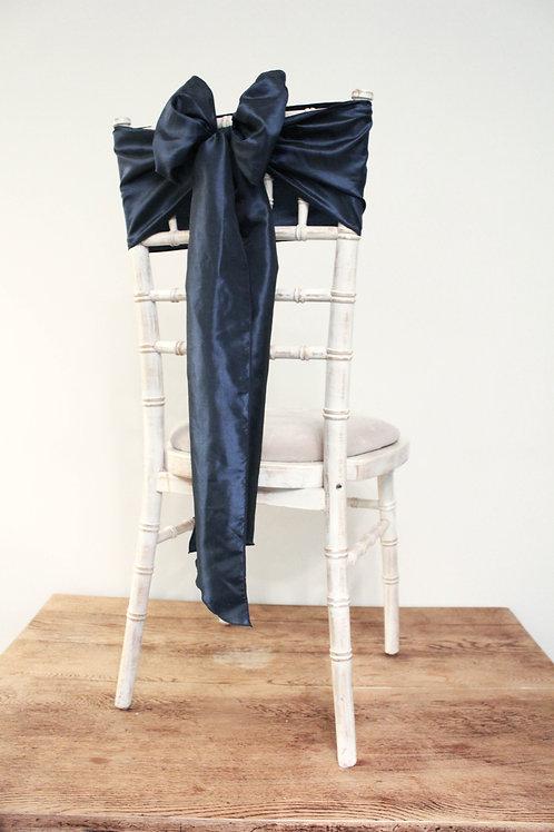 Navy Taffeta Chair Bow