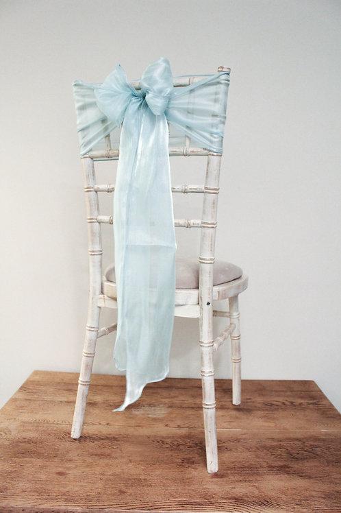 Aqua Silk Chiffon Chair Sash