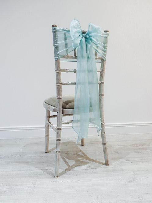 Aqua Silk Chair Bow