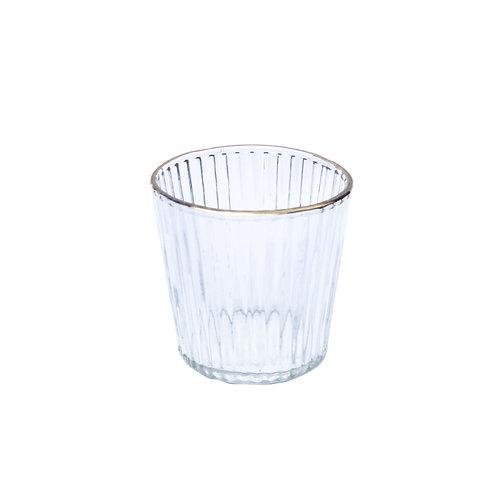 Gold Trim Glass Tealight Holder