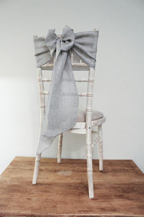 Grey Linen Chair Sash