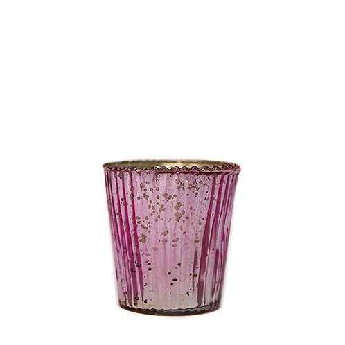 Pink Ribbed Tealight