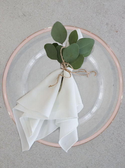 Glass Charger Plate with Blush Trim
