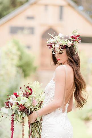 Wild Burgundy Bouquet & Flower Crown