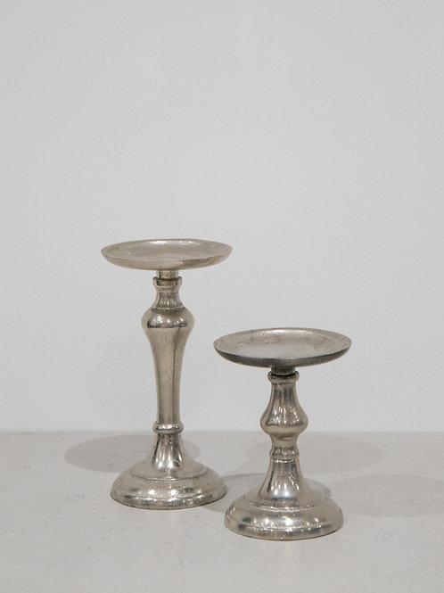 Vintage Silver Pillar Candle Holder