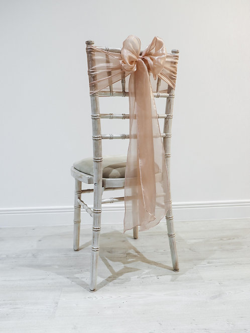 Dusky Pink Silk Chair Bow