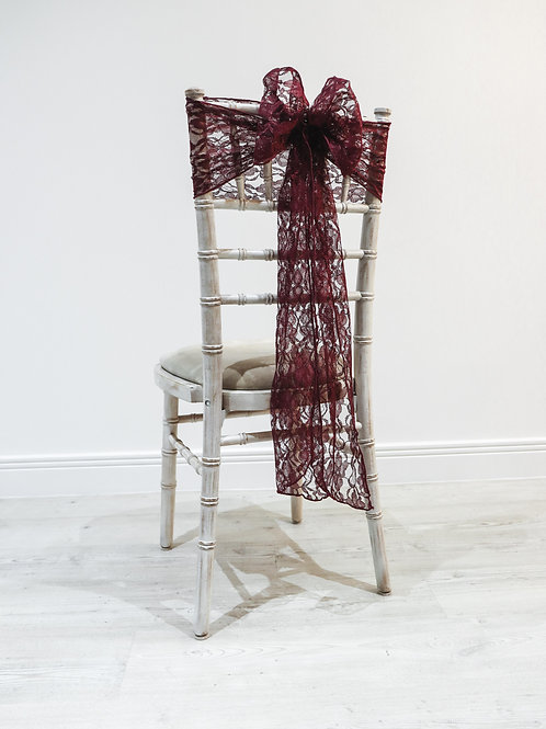 Burgundy Lace Chair Bow