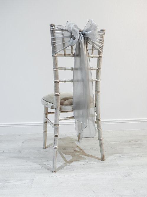 Silver Silk Chair Bow