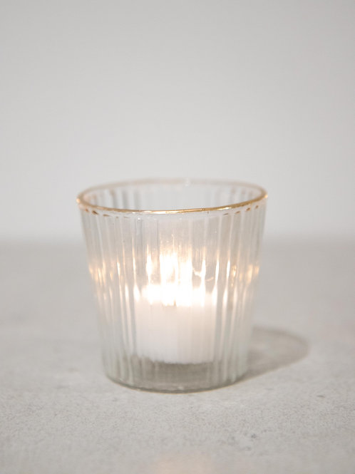 Gold Trim Glass Tealight