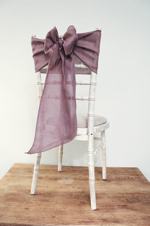 Mauve Linen Chair Sash