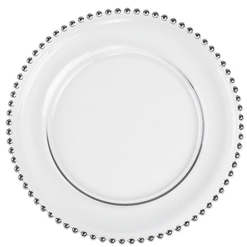 Glass Beaded Charger Plate (Silver)
