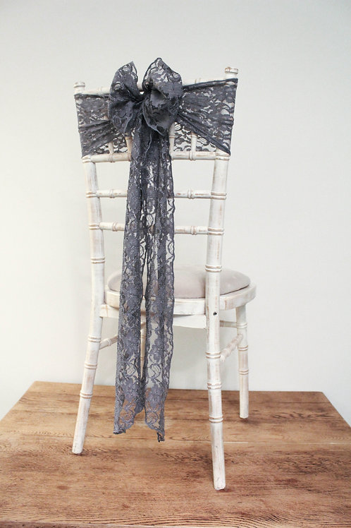 Grey Lace Chair Bow