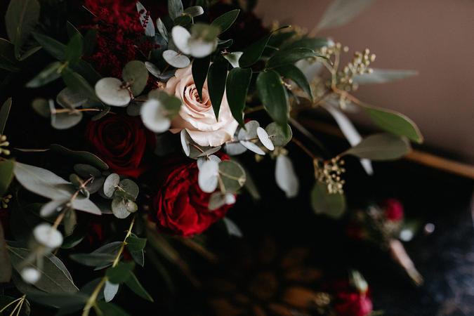 Red & Navy Wedding Flowers