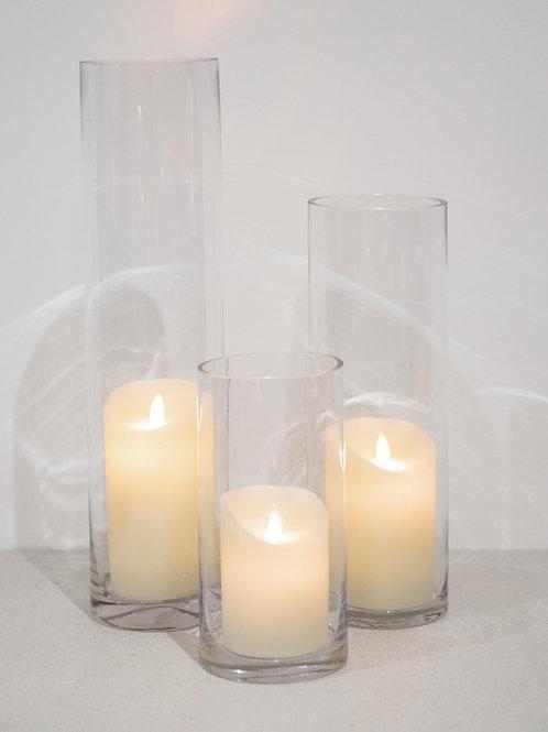 Cylinder Vase Trio - LED Candles