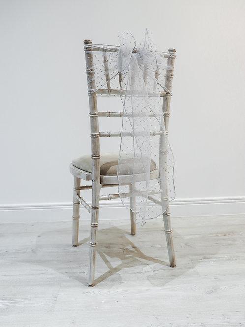 Grey Polka Organza Chair Bow