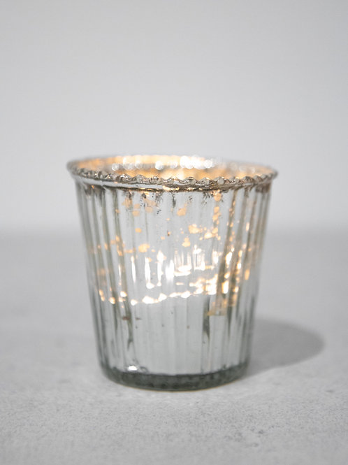 Silver Glass Ribbed Tealight