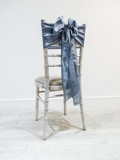 Dusky Blue Taffeta Chair Bow