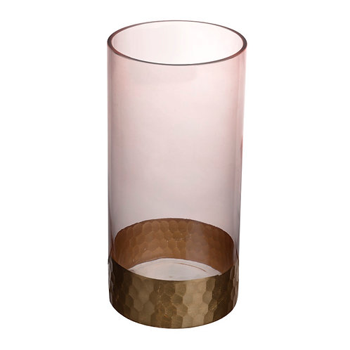 Pink with Gold Trim Vase - Large