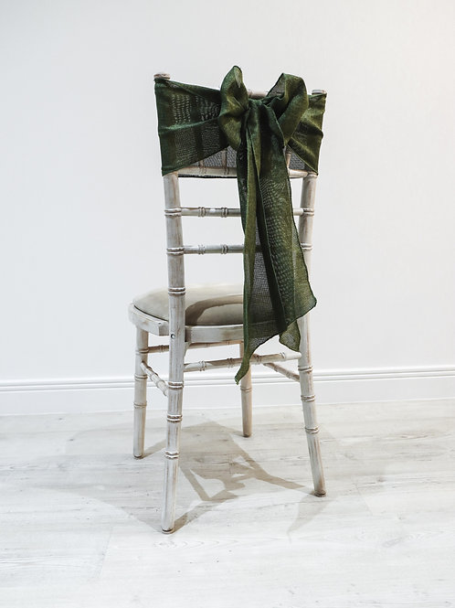 Moss Linen Chair Sash