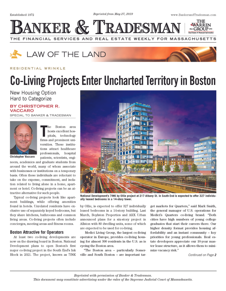 Co Living Projects Enter Uncharted Territory In Boston