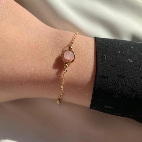 armbandje goud met parel rose