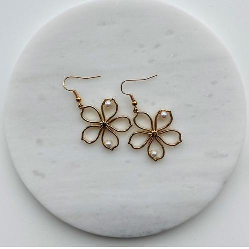 oorbellen bloem goud