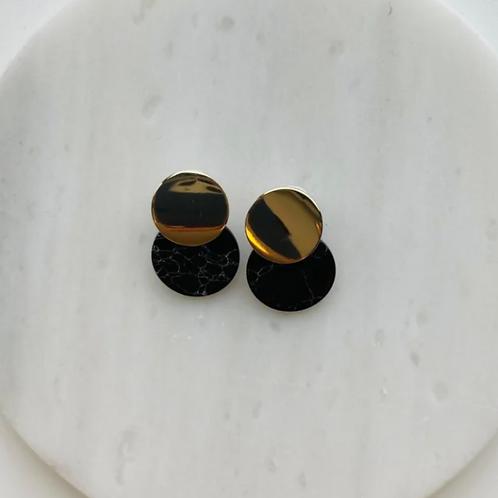 oorbellen goud - zwart