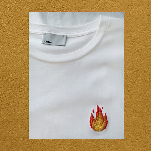 Fire - Hand Embroidery on T-shirt