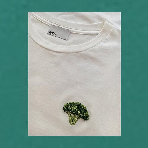 Broccoli - Hand Embroidery on T-shirt