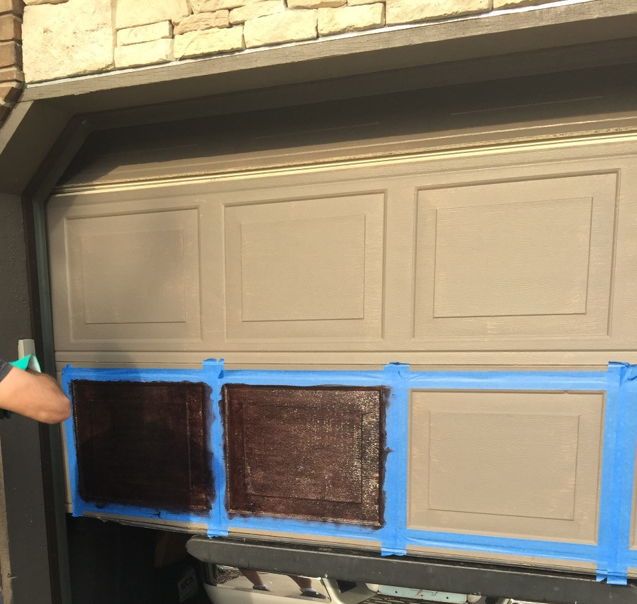 """Here we go!  Taping off each section and working with the """"grain"""" of your door"""