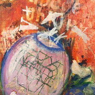 Kursdeltagers arbeid - prosessen var veldig meningsfylt for kunstneren, et bilde med glede i.
