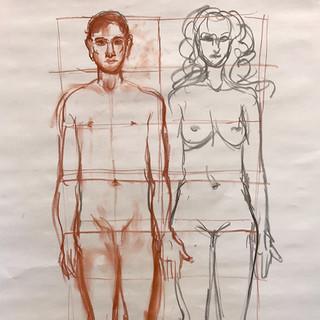 Inndeling av menneskekroppen. Visste du at midten av kroppen er skrittet? Og at kroppen måler ca 8 hoders høyde? Det finnes mye teori som hjelper deg til å tegne en kropp.