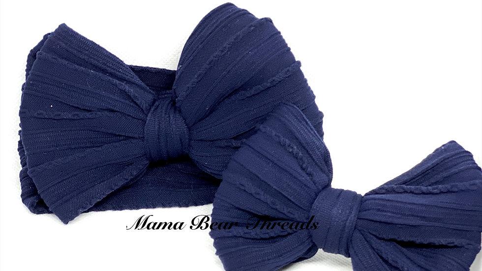 Navy Braided Nylon Knit Bow